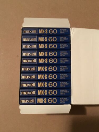 Box of 10 New Sealed Maxell MX-S 60 Metal Type IV Cassette Tape Made in Japan