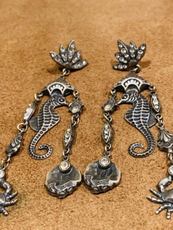 Vintage Look Marine-Life Ocean Seahorse Dangle Earring