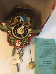 SALE German Miniature Swing clock Quartz movement cuckoo Org Box Direections