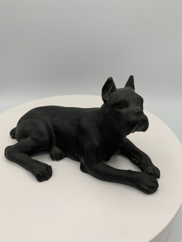 Vintage Coal Black Bulldog Dog Figurine - Crafted From Lignite Coal, Beulah, ND