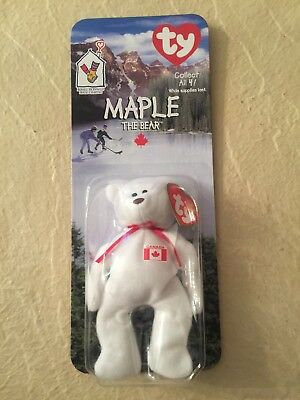 Maple The Bear-1996 McDonalds Ty Beanie Baby with rare errors 1993, OakBrook
