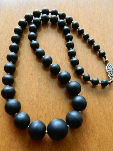 ANTIQUE VICTORIAN MOURNING MATTE BLACK GLASS GRADUATED BEAD NECKLACE~STERLING