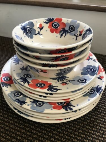 Emma Bridgewater Anemone Flower Dinner Salad Plates Bowls Set 12 ~NEW ~