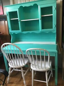 Blue green desk with shelving