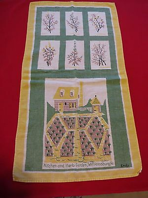 Vintage Tea TOWEL Souvenir from WILLIAMSBURG VA Kitchen & Herb Garden 15 X 27