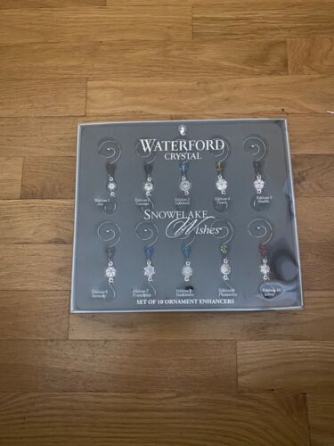 Waterford Crystal Snowflake Wishes set of 10 ornaments. NEW