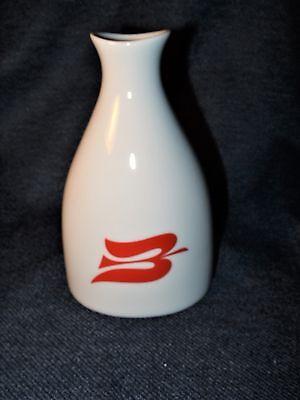 "Porsgrund Norway Fine Porcelain Peanut Shaker Bud Vase 6"" w/ Red Bird Design EUC"