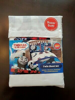 Thomas the Tank Engine & Friends 3 Piece Twin Sheet Set Bedding Blue White Red