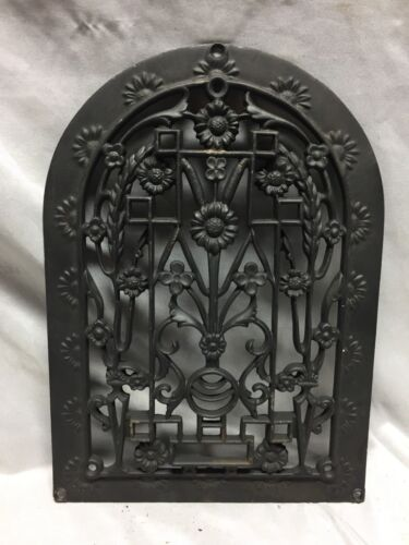 One Antique Arched Top Heat Grate Grill Floral Decorative Arch 10X14 621-18C