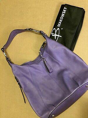 B. Makowsky Large Pebbled Leather Handbag Purple Shoulder Bag