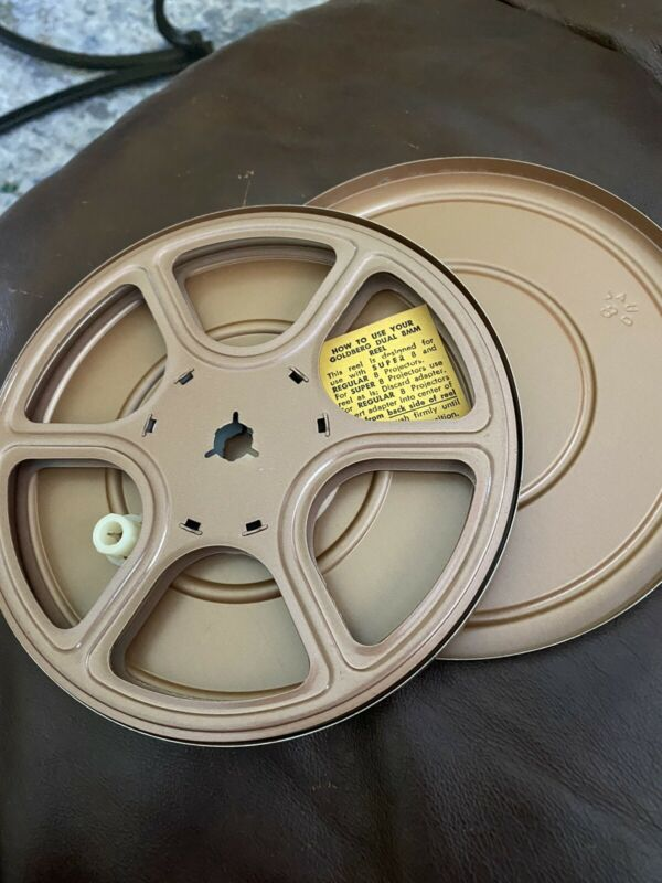"Goldberg  7"" 8mm Movie Film Metal Take Up Reel and Can 400' Capacity Dual 8"