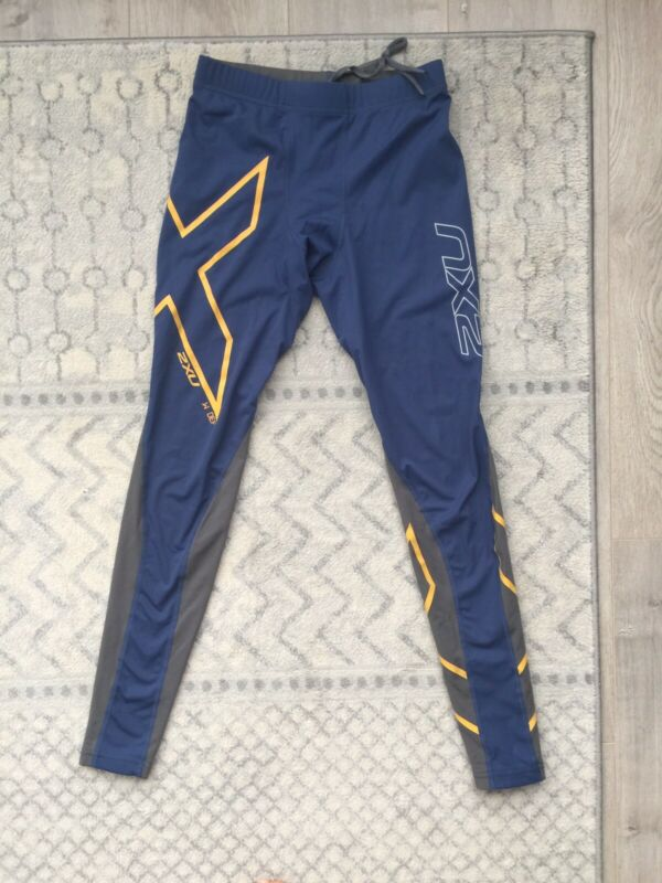 2XU Mens Wind Def Compression Tights Blue/Gray, Size S, Free Ship, NWOT