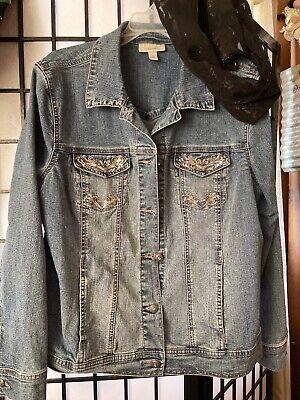 Dressbarn Embellished Jean Jacket - Medium Wash-light Stretch - Size Xl