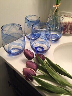 Blue Wine Glasses (Blue Stemless Wine Glasses Set Of 4 Blue Glasses Stemless Wine Glasses)