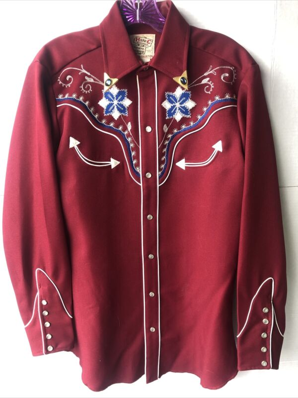 Vintage Mens H Bar C El Dorado Collection Ranchwear Long Dleeve Red Shirt 14 1/2