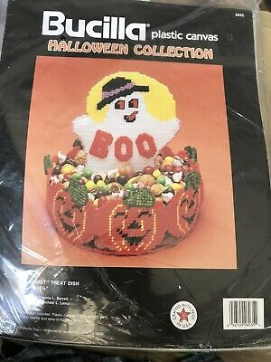New 1990 Bucilla Plastic Canvas Kit Halloween Boo Basket Treat Dish 6035 Ghost