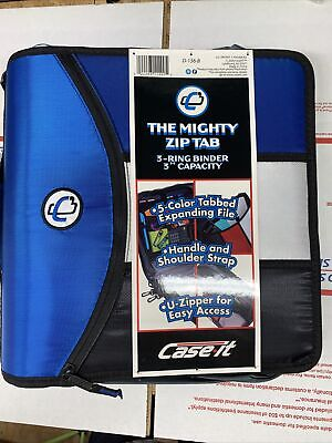 Case-it The Mighty Zip Tab 3-ring Binder 3 Inch Capacity Blue Black White