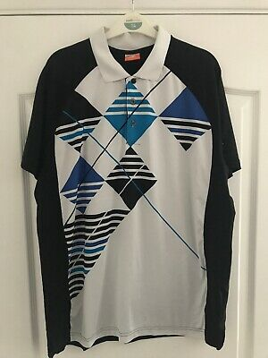 Mens Black/ White/ Blue Patterned Golf Polo Shirt By Puma (Size Medium)