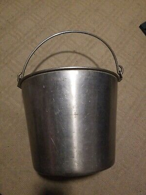 Vintatge Heavy Duty Stainless Steel Pail Bucket Milking-maple Syrup-dog Kennel