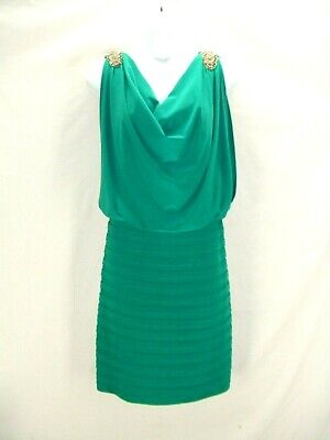 NWT Scarlett Nite 16~Stunning Green Stretch Tiered Pleat Beaded Cocktail Dress~v ()
