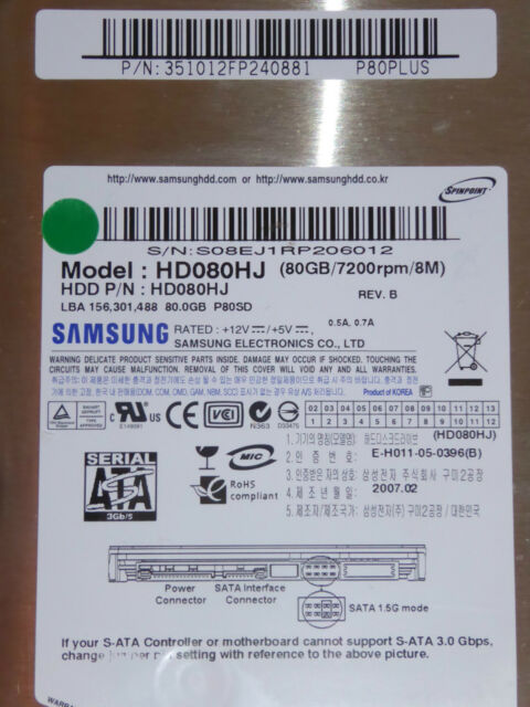 Samsung HD080HJ  P80SD | P/N: 351012FP240881 P80PLUS | 2007.02 80GB disco rigido