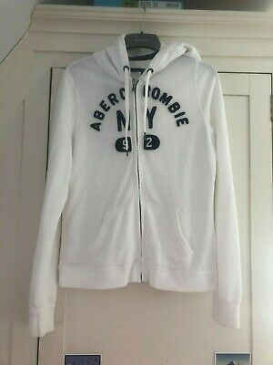 Womans Size Large White Abercrombie & Fitch Zip Up Hoodie