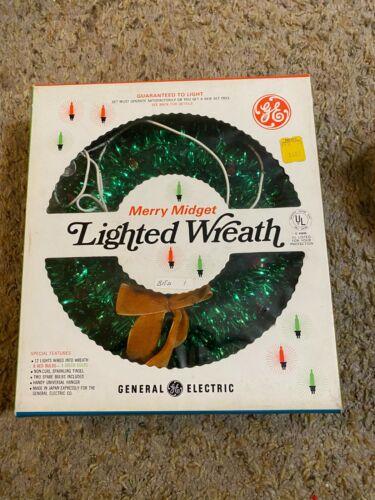 Vintage; GE; Tinsel Wreath Green Merry Midget Lighted Christmas (C)