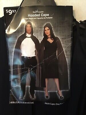 Adult One Size Black Hooded Cape Halloween Costume Ankle Length