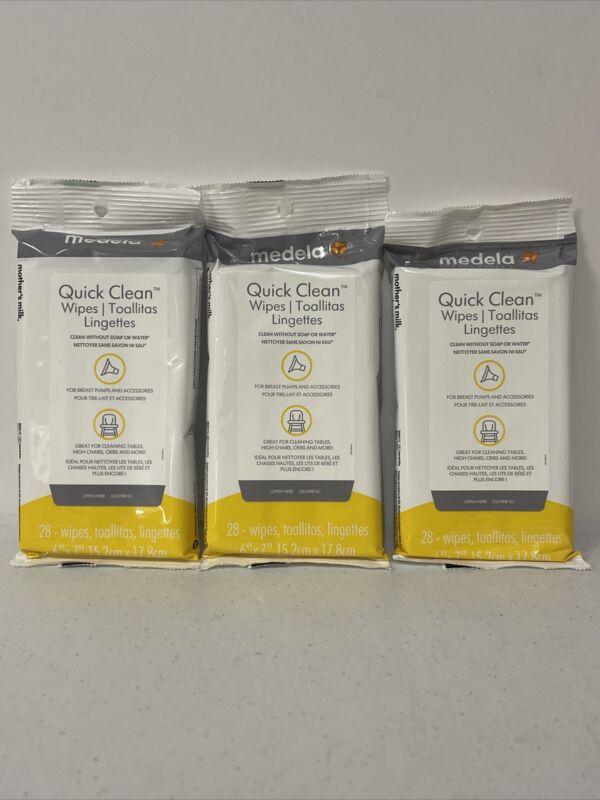MEDELA QUICK CLEAN WIPES BREASTPUMP & ACCESSORY WIPE 3 Packs 28 Each