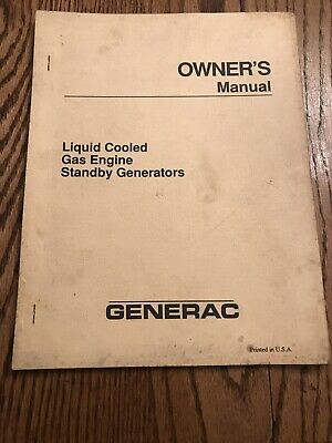 Generac Liquid Cooled Gas Engine Standby Generators Owners Manual