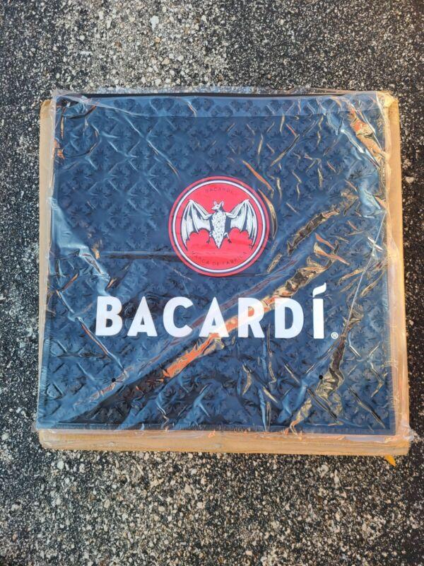 Bacardi Rum Liquor Case of 10 Giant Black Rubber Bar Mat Cocktails Game Room NEW