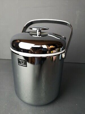 Vintage Retro Chrome Ice Bucket Complete with Tongs & Drainer - Elephant Brand