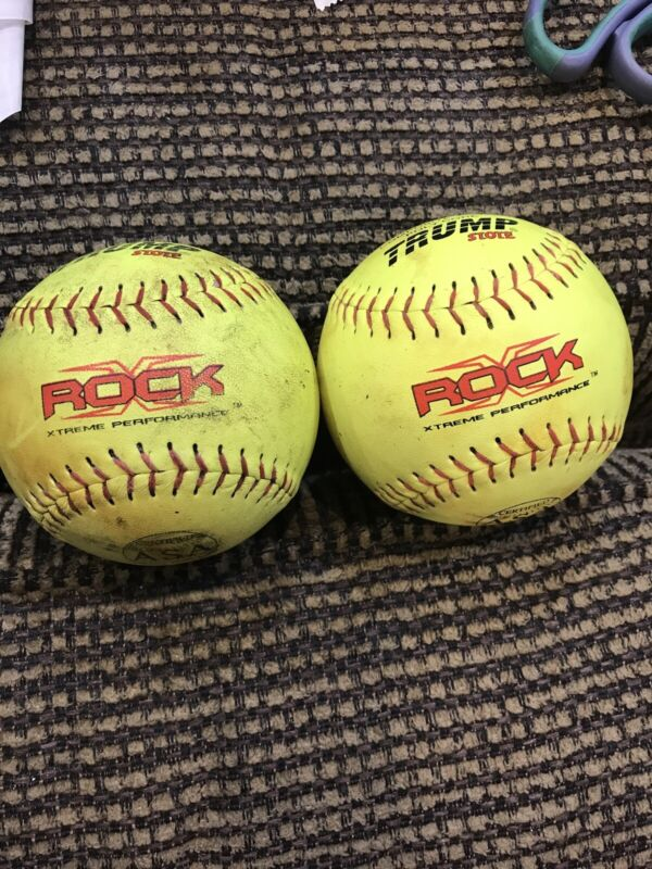 30 Used Trump Rock ASA Slow Pitch Yellow Softballs- Good Condition
