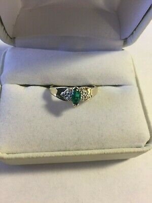 10 Kt Two Tone Marquise Emerald Diamond Accent Ring, 6 1/2, 2 (10kt Two Tone Diamond Ring)