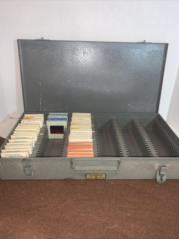 vintage Brumberger 35mm slide tray metal box case holder slides 1959-68.