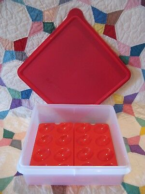 TUPPERWARE Snack Stor Keeper #514 RED Square Seal 515~Egg Trays 4 pc Set Vtg NEW - Stor-keeper