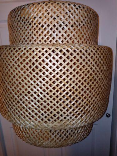 HUGE HANGING LIGHT SHADE Woven Wicker Bamboo Boho MCM Ikea Modern