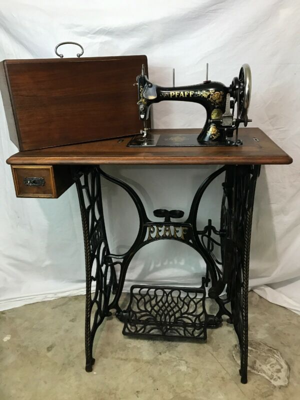 RESTORED Vtg Antique Pfaff Treadle Sewing Machine Wood Table Cast Iron Ornate