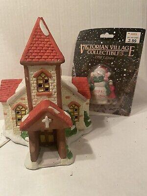 Christmas Village Light Up Victorian House Church Holiday Decoration Snowman