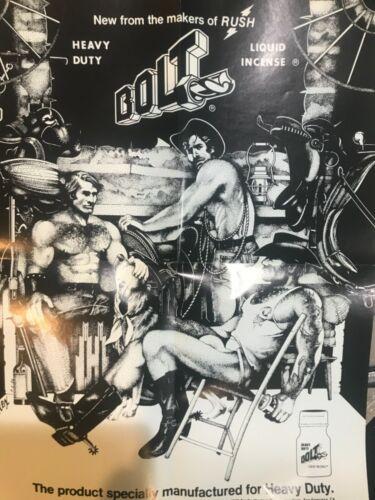 "Rex Gay Art Bolt Rush Advertisement Great Large 14x17""    B&W Folded"