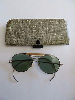 Vintage Women's Tortoise insert Wire Rim Sunglasses with case