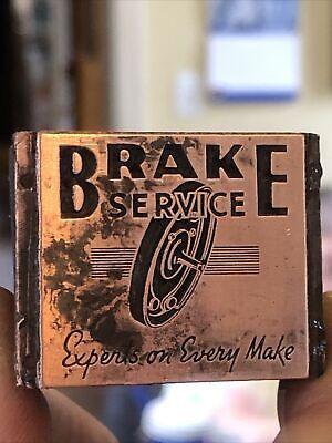 Vintage Wood Metal Metal Printing Print Block Stamps Brake Service