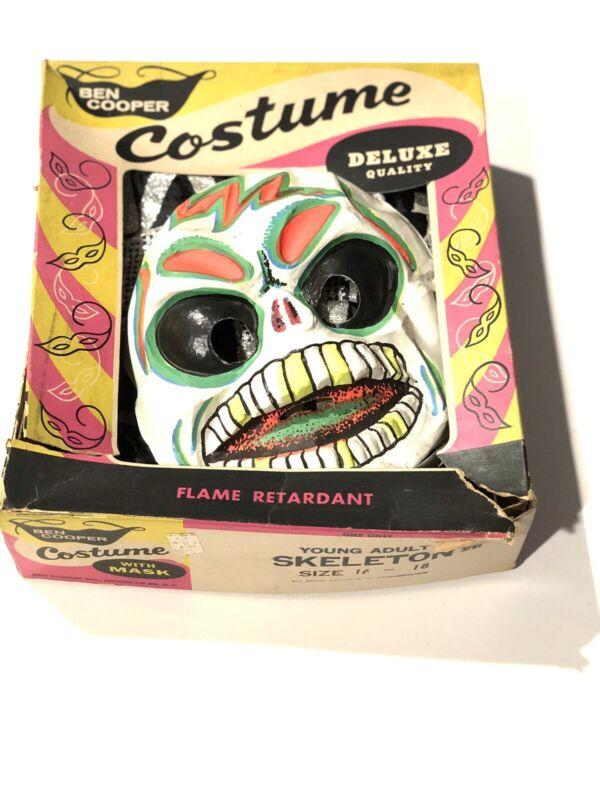 Plastic Mask Ben Cooper Halloween Costume Rare Vtg Box 1960s Skeleton Skull 💀