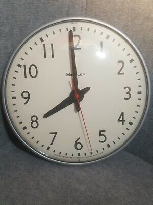 """Vintage Simplex USA School Office Heavy Duty Round Glass Front 13"""" Wall CLOCK"""