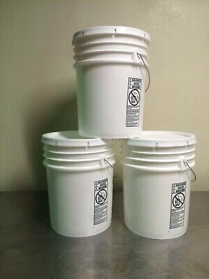 3 Used FOOD GRADE CONTAINERS/BUCKETS  5 Gallon Capacity with lid