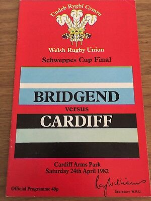 Bridgend Vs Cardiff Welsh Rugby Union Final Programme 24/04/1982