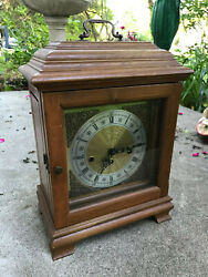 Carriage Mantle Pendulum Clock Westminster Chime Franz Hermle 341-020 Tested