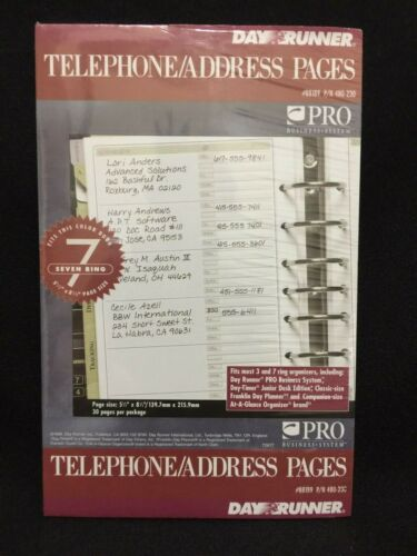 NWT DayRunner 88189 Telephone Address 30 Refill Pages