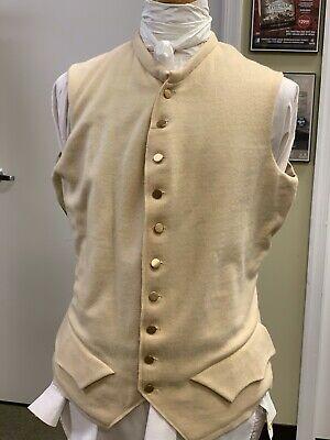 """18th Century, Rev War Buff Wool Officer Waistcoat 44""""+ Chest - Handsewn Buttons"""