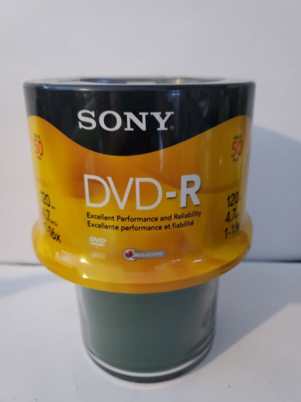 Sony DVD-R 1-16x 4.7 GB Recordable Media Disc 50 Pack Blank 120 Min New Sealed